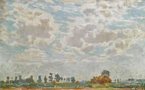 Обои Облачное Небо над Бельгийской Фермой, картина, Emile Claus, Эмиль Клаус, пейзаж