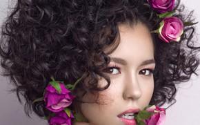 Картинка взгляд, цветы, лицо, фон, портрет, розы, макияж, брюнетка, прическа, красотка