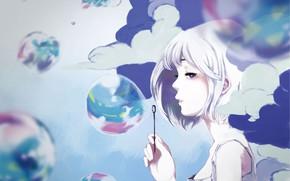 Картинка девушка, облака, мыльные пузыри, by mochidukirei