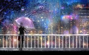 Картинка свет, ночь, мост, город, огни, дождь, зонт, силуэт, девочка