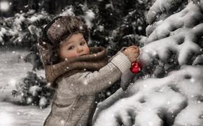 Обои зима, мальчик, снег, елка, игрушка
