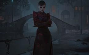 Картинка глаза, девушка, мост, улица, Ночь