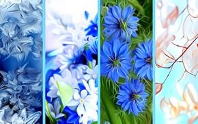 Картинка зима, иней, осень, лето, листья, цветы, рендеринг, времена года, коллаж, весна, картинка
