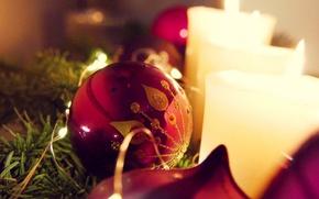Картинка макро, праздник, игрушка, новый год, свечи