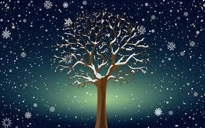 Картинка Зима, Минимализм, Дерево, Снег, Фон