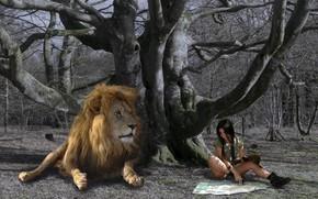 Обои карта, ситуация, девушка, лев
