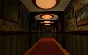 Картинка коридор, галерея, картины, антураж, blender3d
