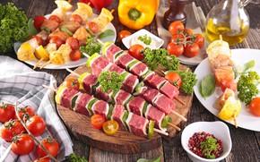 Картинка тарелка, мясо, овощи, помидоры, шашлык