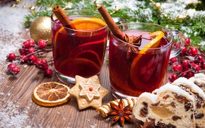 Обои tea, punch, Рождество, cookies, orange, печенье, глинтвейн, wine, merry christmas, Новый Год, decoration