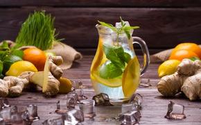 Обои лед, лимон, апельсин, напиток, кувшин, мята, лимонад, имбирь