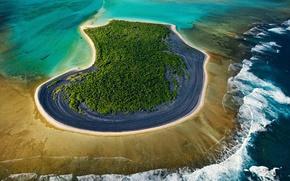 Картинка море, океан, остров, атолл, Новая Каледония