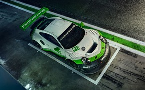 Обои 2019, гоночное авто, 911, Porsche, GT3 R, вид сверху
