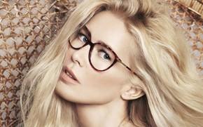 Картинка взгляд, лицо, волосы, очки, Claudia Schiffer