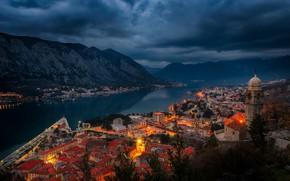 Обои ночь, Черногория, огни, залив, берег, фьорд, дома, горы, Kotor