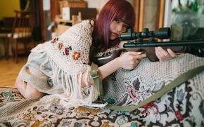 Картинка взгляд, девушка, оружие