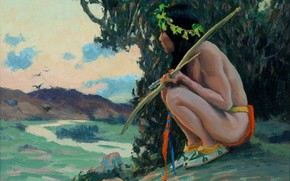 Картинка охотница, Untitled, Eanger Irving Couse, охота на птиц, стрела лук