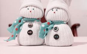 Картинка пуговицы, снеговики, шапки, Игрушки, шарфики
