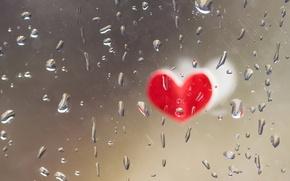 Обои капли, стекло, сердце