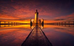 Картинка море, небо, маяк, вечер