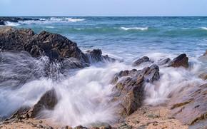 Обои камни, скалы, Уэльс, волны, Anglesey County, море, побережье, Wales