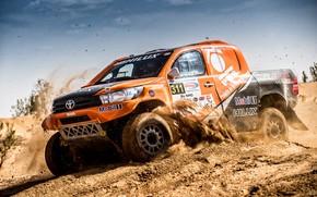 Обои Песок, Авто, Спорт, Машина, Гонка, Оранжевый, Toyota, Hilux, Rally, Внедорожник, Ралли, Тойота, Хайлюкс, Бездорожье, Toyota ...