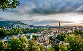 Картинка небо, облака, деревья, пейзаж, дома, Швейцария, крыши, Берн