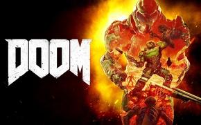 Картинка demon, fire, flame, gun, game, armor, devil, weapon, Marine, man, evil, shotgun, mars, helmet, powerful, …