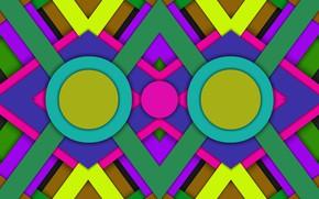 Картинка круги, тени, слои, ромбы