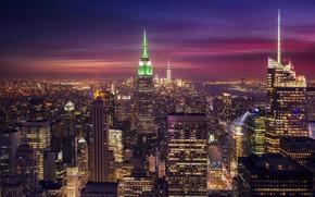 Обои город, огни, вечер, США, Нью Йорк