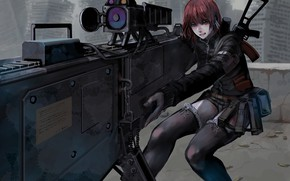Картинка girl, gun, weapon, anime, rifle, japanese