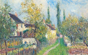 Картинка пейзаж, картина, Alfred Sisley, Альфред Сислей, Дорожка в Саблоне