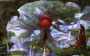 Картинка лес, деревья, горы, знак, заяц, белка, водопады, птичка, natureheart, дюди