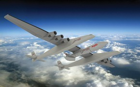 Картинка Облака, Самолет, Ракета, Самолёт, 351, Stratolaunch, Stratolaunch Model 351, Model 351, Американский самолёт-носитель, Двухфюзеляжная конструкция, ...