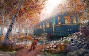 Картинка цветы, деревья, Russian Summer House in Autumn, лиса, вагон
