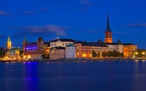 Картинка море, ночь, огни, дома, Стокгольм, Швеция