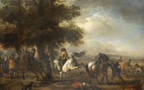 Картинка пейзаж, масло, Филипс Вауэрман, картина, Французский Наездник, дерево