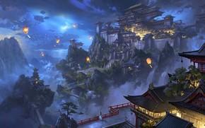 Картинка ночь, город, фонарики, ling xiang
