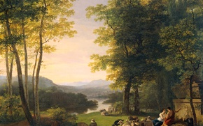 Обои масло, картина, холст, Ян Виллем Пинеман, Пейзаж Аркадии