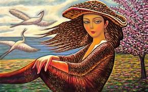 Картинка женщина, шляпа, журавли, Пробуждение, Севада Григорян