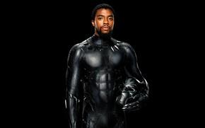 Обои постер, Чедвик Боузман, Chadwick Boseman, черный, комикс, фантастика, черный фон, MARVEL, Чёрная Пантера, T'Challa, маска, ...