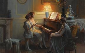 Обои цветы, лампа, масло, вечер, фортепиано, Академизм, Дельфин Анжольра, Урок пения