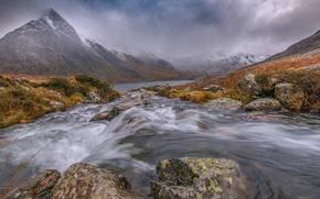 Картинка облака, горы, река, камни, Уэльс, Сноудония, долина Огвэн