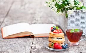 Картинка ягоды, чай, еда, оладьи