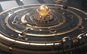 Картинка шар, шкала, показатели, прибор, Steampunk Astrolabe Table with Ui