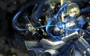 Картинка девушка, аниме, арт, сабля, Seinen, Артурия Пендрагон, судьба пребывания, Альтер