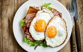 Картинка яйца, тарелка, вилка, яичница, бекон, салат
