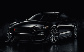 Картинка Mustang, Ford, Black, Smoke, Backgraund