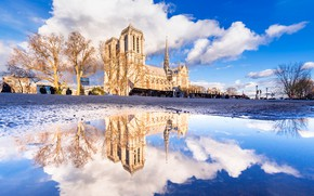 Картинка Париж, Собор Парижской Богоматери, отражение, Франция