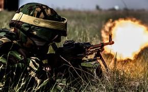 Картинка солдат, стрельба, пулемет