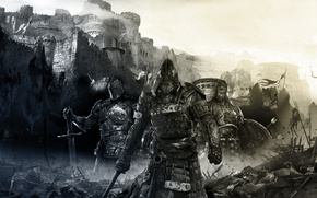 Картинка Замок, Меч, Воин, Самурай, Броня, Рыцарь, viking, Samurai, Викинг, Knight, За честь, ForHonor